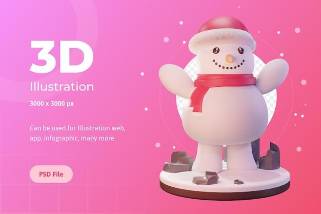 3d illustratie, kerstobject, sneeuwpop met dop, voor web, app, reclame, enz