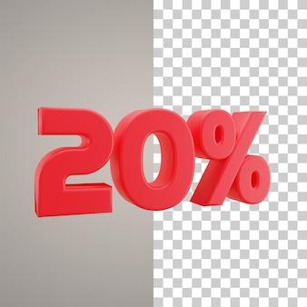 3d illustratie korting 20 procent