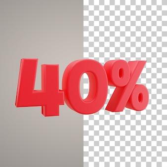 3d illustratie korting 40 procent