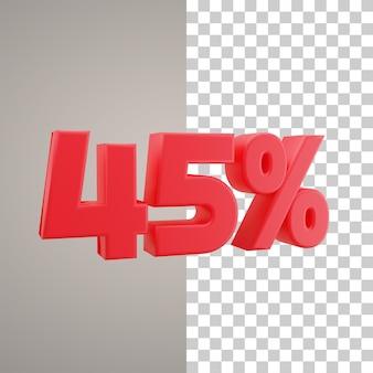 3d illustratie korting 45 procent