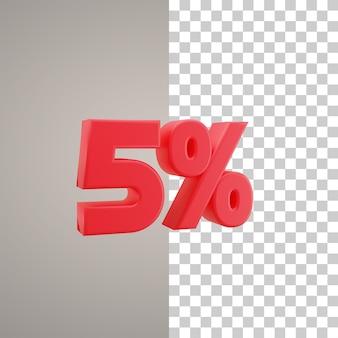 3d illustratie korting 5 procent