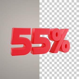 3d illustratie korting 55 procent