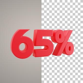 3d illustratie korting 65 procent