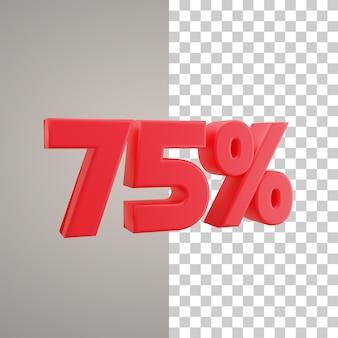3d illustratie korting 75 procent