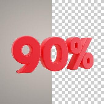 3d illustratie korting 90 procent