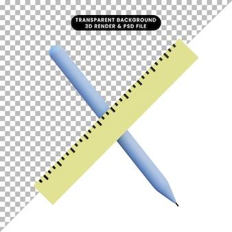 3d illustratie liniaal en pen