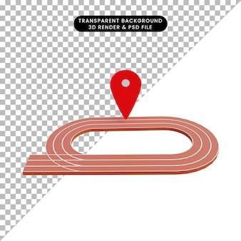 3d illustratie lopend veld met pictogramlocatie
