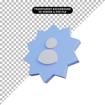 3d illustratie mensen icoon met badge