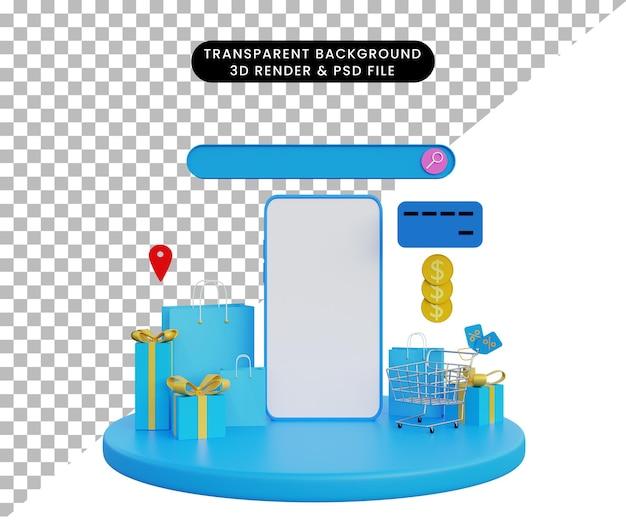 3d illustratie online winkel advertenties