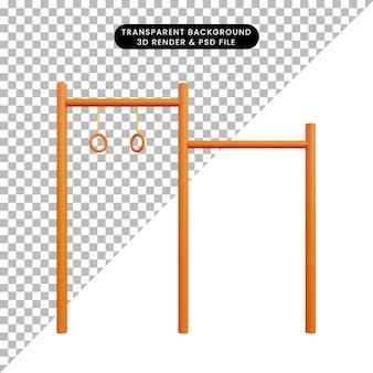 3d illustratie opheffende bar gymnastiek