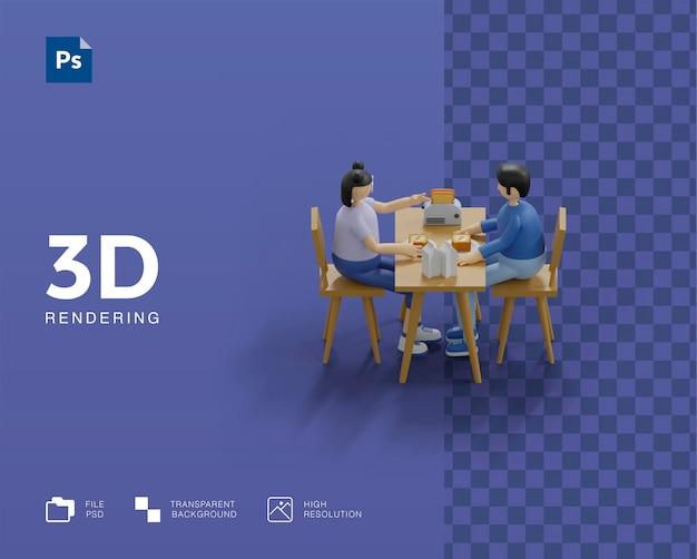 3d illustratie paar samen ontbijten