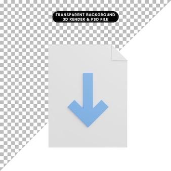 3d illustratie pictogram papieren bestand met downloadpictogram pijl naar beneden