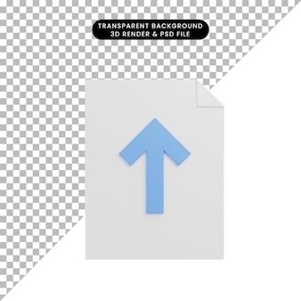 3d illustratie pictogram papieren bestand met pijl omhoog upload