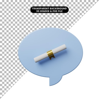 3d illustratie praatjebel met certificaat