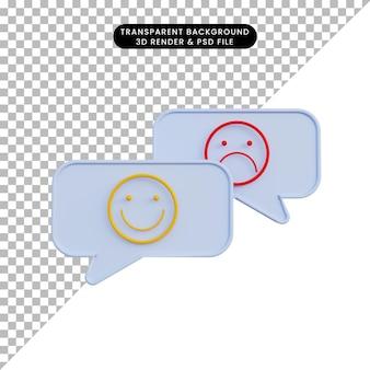 3d illustratie praatjebel met emoticonglimlach en verdrietig