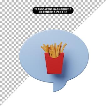 3d illustratie praatjebel met frieten