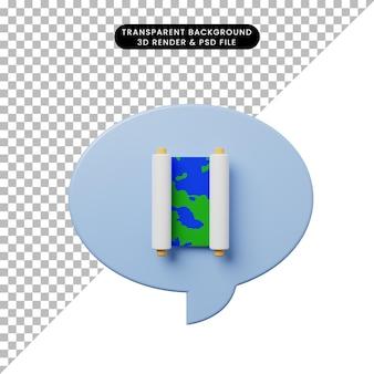 3d illustratie praatjebel met kaart