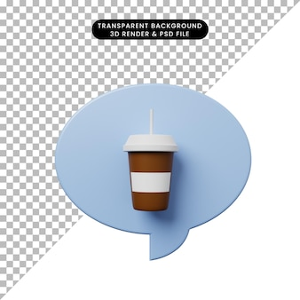 3d illustratie praatjebel met koffie