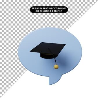 3d illustratie praatjebel met toga hoed