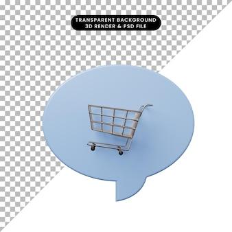 3d illustratie praatjebel met winkelwagentje Premium Psd