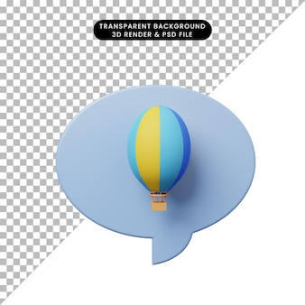 3d illustratie praatjebel met zeppelin hete luchtballon