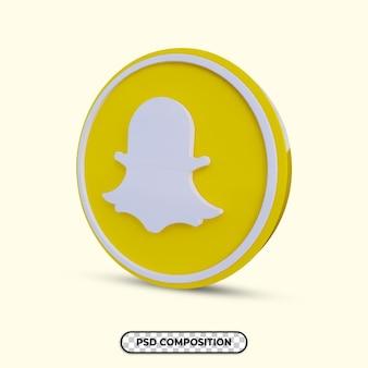 3d illustratie snapchat logo geïsoleerd