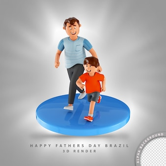 3d illustratie vader en zoon lopen naast elkaar