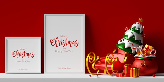 3d illustratie van 2 fotolijsten mockup met slee en kersttas