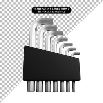 3d illustratie van auto-onderdelen spullen moersleutel l hex