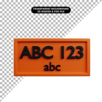 3d illustratie van auto-onderdelen spullen nummerplaat