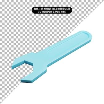 3d illustratie van auto-onderdelen spullen schroevendraaier