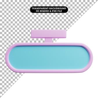 3d illustratie van auto-onderdelen spullen spiegel