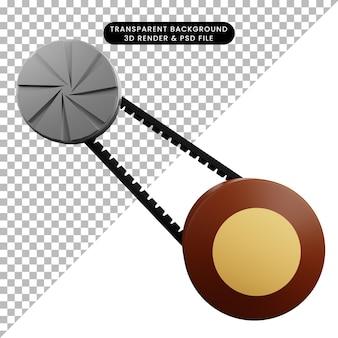 3d illustratie van auto-onderdelen spullen vanbelt