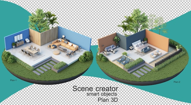 3d illustratie van binnenlands plan van gebouw en woonplaats