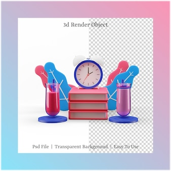 3d illustratie van boek en tijd met terug naar schoolconcept