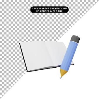 3d illustratie van boek met potlood