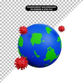 3d illustratie van de aarde van het veiligheidsconcept met corona