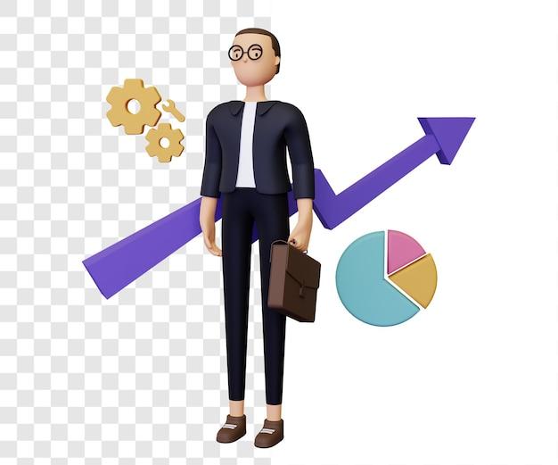3d illustratie van de bedrijfsgroei