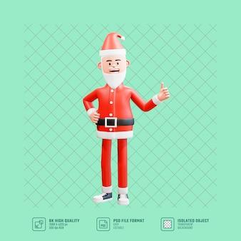3d illustratie van de gelukkige kerstman geeft duimen op en rechterhand op de taille. kerstconcept