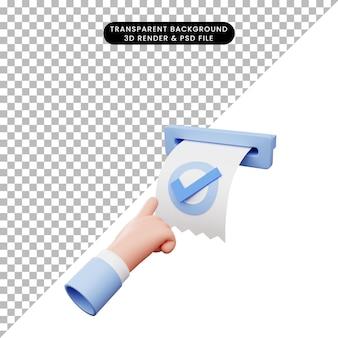 3d illustratie van de hand die op de factuurcontrolelijst wijst