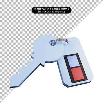 3d illustratie van de sleutel van het veiligheidsconcept met afstandsbediening