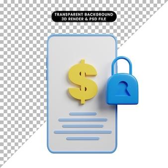3d illustratie van de smartphone van het betalingsconcept met dollar en hangslotpictogram