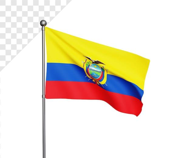 3d illustratie van de vlag van ecuador