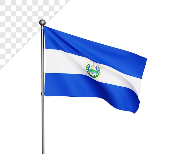 3d illustratie van de vlag van el salvador