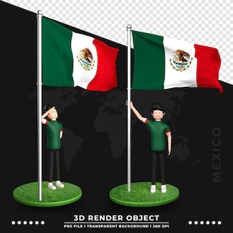 3d illustratie van de vlag van mexico met schattige mensen stripfiguur. 3d-rendering.