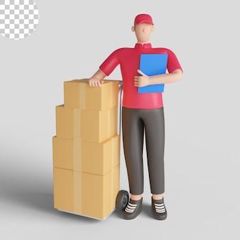 3d illustratie van een leveringsmens die een rood overhemd draagt dat een verzending controleert. premium psd