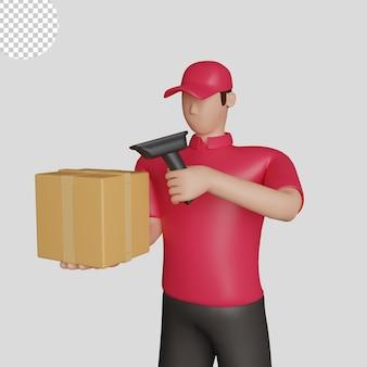 3d illustratie van een leveringsmens die een rood overhemd draagt dat een verzending scant. premium psd
