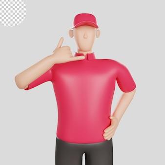 3d illustratie van een leveringsmens die een rood overhemd draagt. premium psd