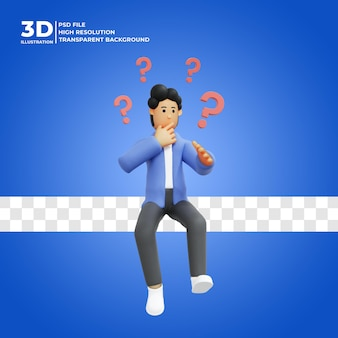 3d illustratie van een man die aan een idee denkt premium psd