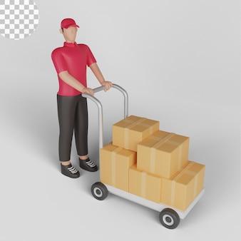3d illustratie van een man die een zending naar een magazijn vervoert. psd premium